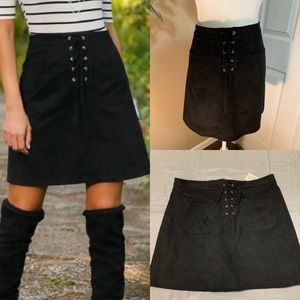 Cato faux suede black lace up skirt size 14